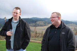 Shawn (left) and Bobby enjoy the Oregon weather at Sweet Cheeks Winery.
