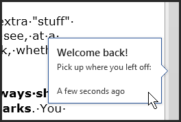 Figure 3: You can easily resume your work in Word 2013.